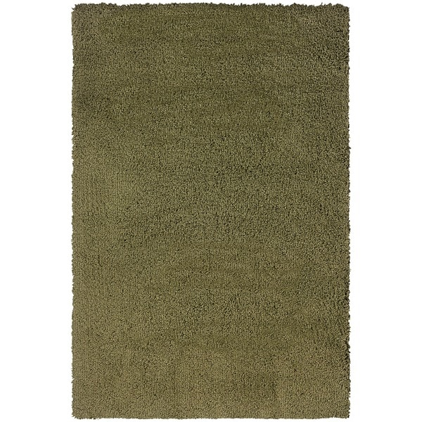 Manhattan Green/ Tan Shag Area Rug - 5'3 x 7'9