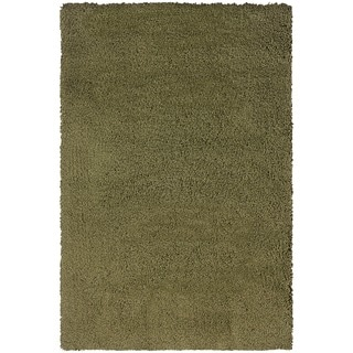 Manhattan Green/ Tan Shag Area Rug (5'3 x 7'9)