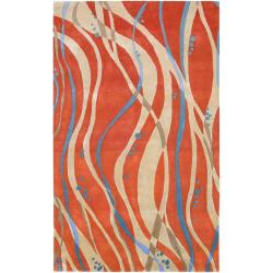 Hand-tufted Orange Contemporary Pinaleno New Zealand Wool Abstract Rug (3'3 x 5'3)