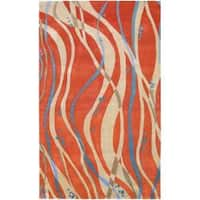 Hand-tufted Orange Contemporary Pinaleno New Zealand Wool Abstract Area Rug - 3'3 x 5'3