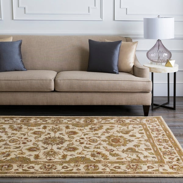 Hand-tufted Pennine Ivory Floral Border Wool Area Rug - 8' x 11'