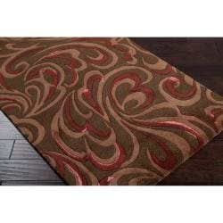 Candice Olson Hand-tufted Contemporary Brown/Red Floral Abstract Sesvenna New Zealand Wool Abstract Rug (3'3 x 5'3) - Thumbnail 1