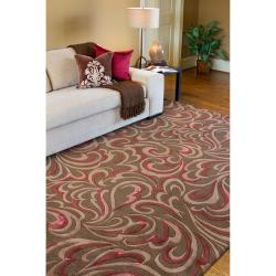 Candice Olson Hand-tufted Contemporary Brown/Red Floral Abstract Sesvenna New Zealand Wool Abstract Rug (3'3 x 5'3) - Thumbnail 2