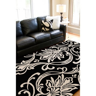 Hand-tufted Tux Damask Pattern Wool Rug (8' x 11')