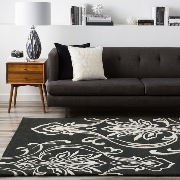Hand-tufted Tux Damask Pattern Wool Area Rug - 8' x 11'