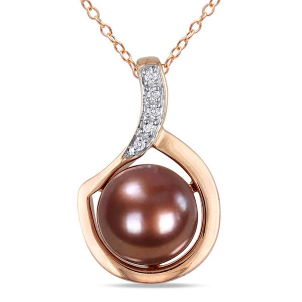 M by Miadora Pink Silver Freshwater Pearl and Diamond Accent Necklace (G-H, I2-I3)