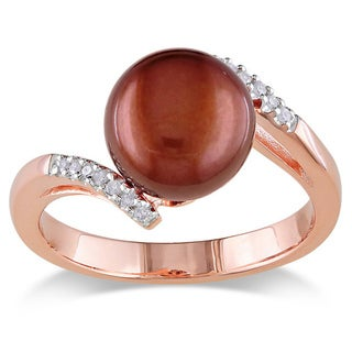 Miadora Pink Silver Freshwater Pearl and Diamond Accent Ring (G-H, I2-I3)
