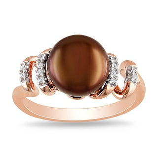 Miadora Pink Silver Freshwater Pearl and Diamond Accent Ring (9-9.5 mm)(G-H, I2-I3) (2 options available)