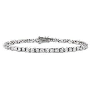 Miadora Signature Collection 14K White Gold 4 CT TDW Diamond Tennis Bracelet (G-H, I1)
