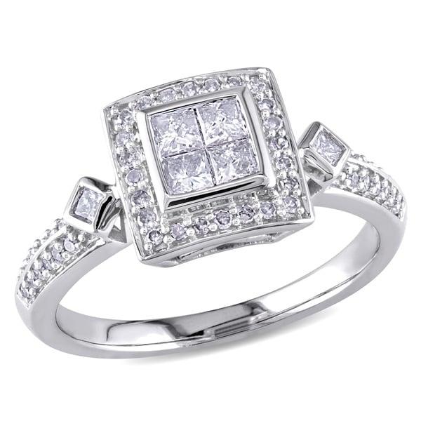 Miadora 14k White Gold 1/2ct TDW Princess Diamond Ring (G-H, I1-I2)