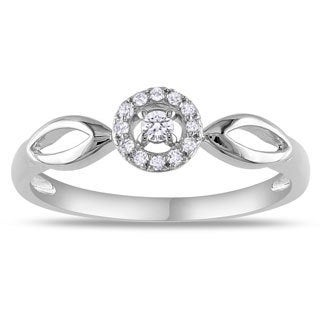 Miadora 10k White Gold 1/10ct TDW Diamond Promise Ring