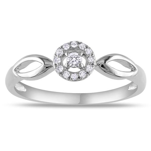 Miadora 10k White Gold 1/10ct TDW Diamond Promise Ring