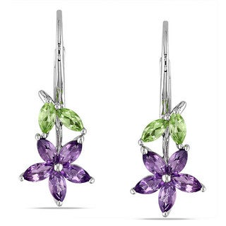Miadora Sterling Silver 1 4/5ct TGW Peridot and Amethyst Leverback Earrings