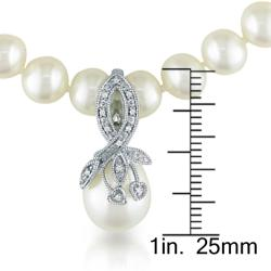 Miadora Sterling Silver Pearl and Diamond Accent Necklace (6-7 mm)