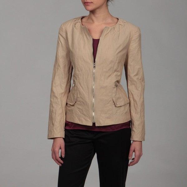 Kasper Women's Khaki Twill Ruche-collared Jacket