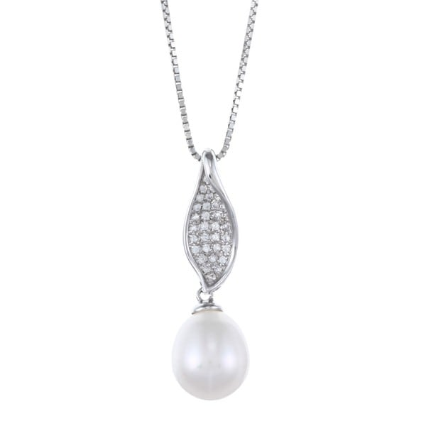 Kabella Sterling Silver Drop Freshwater Pearl with Cubic Zirconia Con-cave Necklace (9-10mm)
