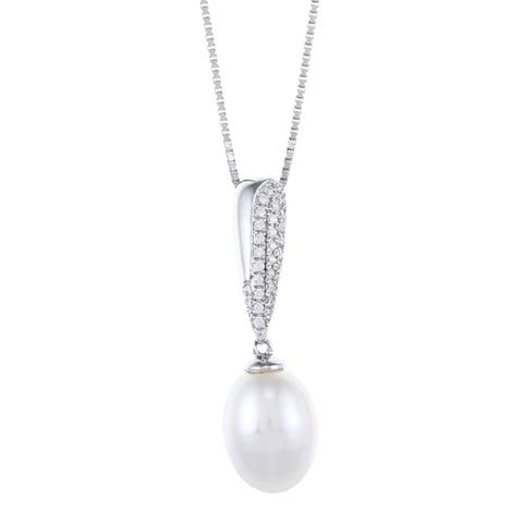 Kabella Sterling Silver Drop Freshwater Pearl with Cubic Zirconia Puffy Bar Necklace (8-9mm)