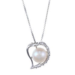 Kabella Sterling Silver Button Freshwater Pearl with Cubic Zirconia Heart Necklace (8-9mm)