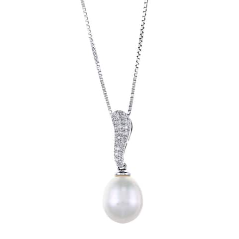 Kabella Sterling Silver Drop Freshwater Pearl with Cubic Zirconia Swirl Bar Necklace (9-10mm)
