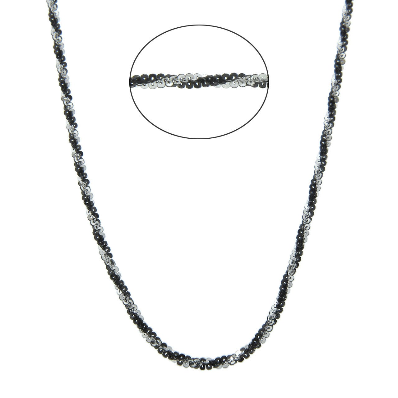 Eternally Haute Italian Black Rhodium-over-Silver Diamond-Cut Roc Chain with Lobster Claw Clasp