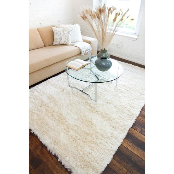 Hand-woven Elburiagan Plush Shag Zealand Wool Area Rug - 5' x 8'