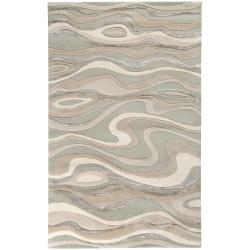 Hand-tufted Zagros Abstract Waves Wool Rug (3'3 x 5'3)