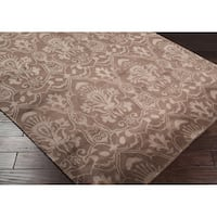 Hand Knotted Lowestoft Hand-carded New Zealand Wool Area Rug - 5' x 8'
