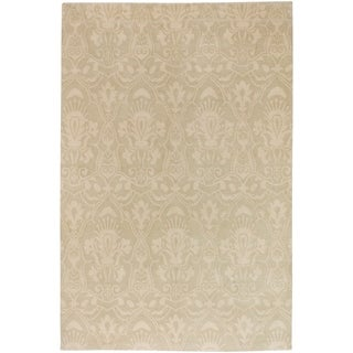 Shop Hand Knotted Fossil Beige Wool Area Rug 5 X 8
