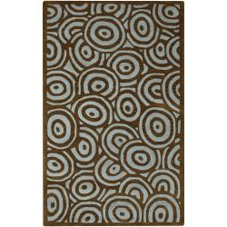 Hand-tufted Contemporary Blue/Brown Circles Celestial New Zealand Wool Abstract Rug (9' x 13')