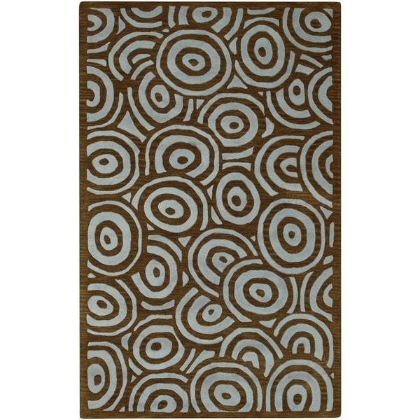 Hand-tufted Contemporary Blue/Brown Circles Celestial New Zealand Wool Abstract Area Rug - 9' x 13'