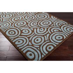 Hand-tufted Contemporary Blue/Brown Circles Celestial New Zealand Wool Abstract Rug (8' x 11') - Thumbnail 1