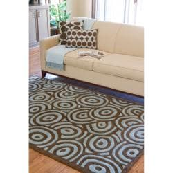 Hand-tufted Contemporary Blue/Brown Circles Celestial New Zealand Wool Abstract Rug (8' x 11') - Thumbnail 2