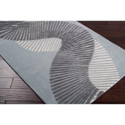 Hand-tufted Contemporary Grey Striped Caucasus New Zealand Wool Abstract Rug (9' x 13') - Thumbnail 1
