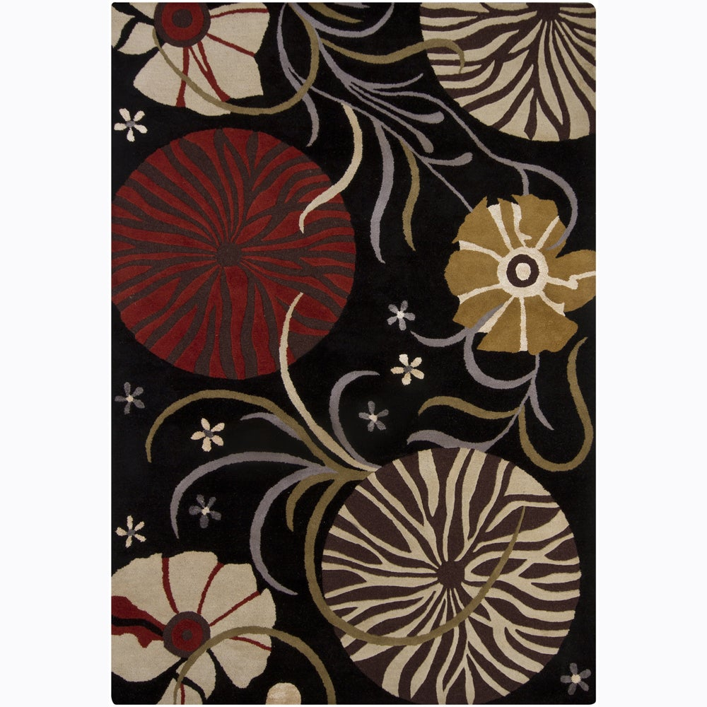 Artist's Loom Hand-tufted Transitional Floral Wool Rug (7'x10') - 7' x 10'