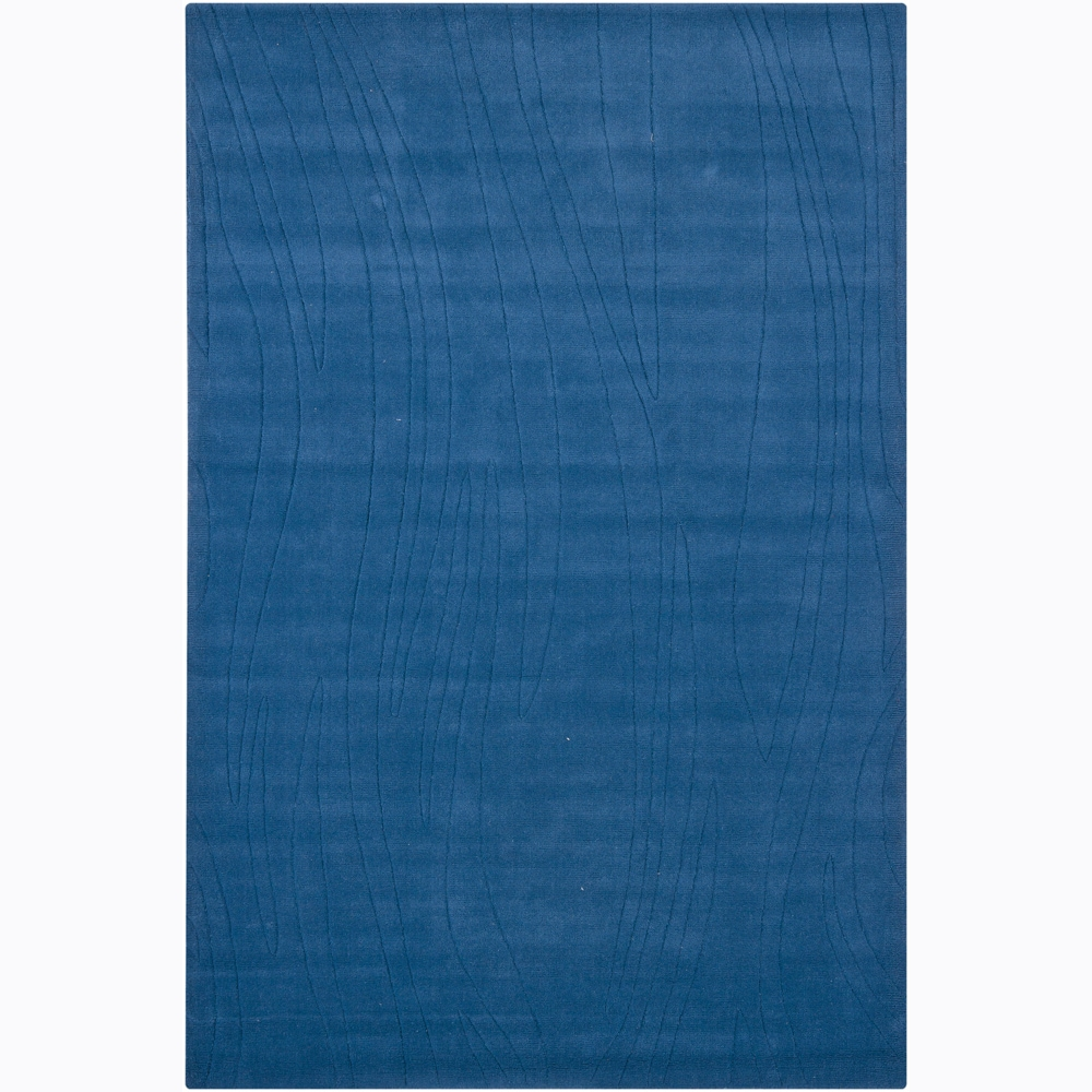 Hand-tufted Mandara Blue Geometric Wool Rug (5' x 7'6)