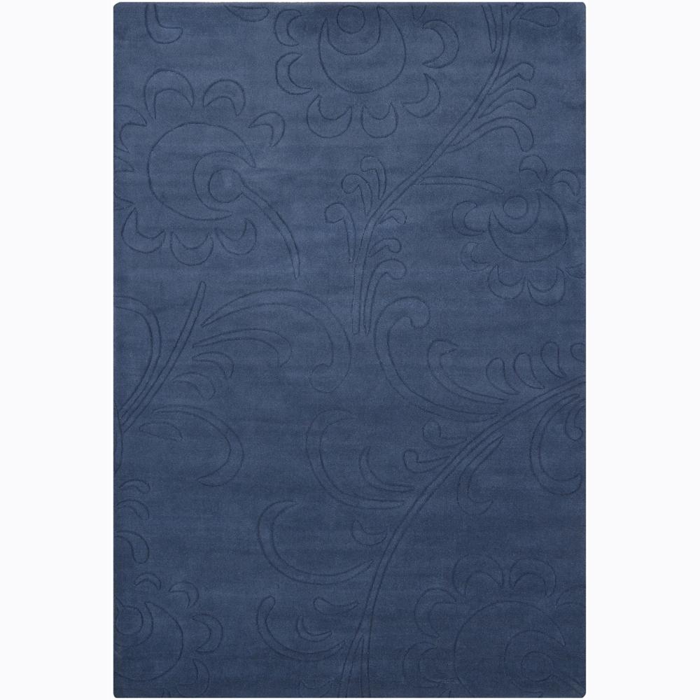Hand-tufted Mandara Blue Floral Wool Rug (5' x 7'6)