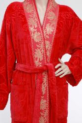 Unisex Red/ Gold Authentic Hotel Spa Floral Turkish Cotton Bath Robe - Thumbnail 1