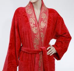 Unisex Red/ Gold Authentic Hotel Spa Floral Turkish Cotton Bath Robe - Thumbnail 2