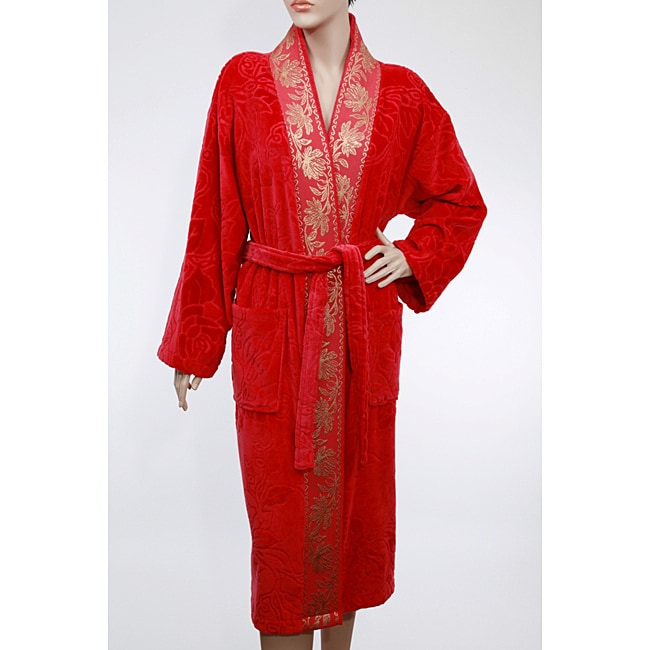 Unisex Red/ Gold Authentic Hotel Spa Floral Turkish Cotton Bath Robe - Thumbnail 0