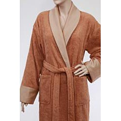 Unisex Authentic Hotel and Spa Turkish Cotton Rust Brown Bath Robe - Thumbnail 1