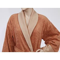 Unisex Authentic Hotel and Spa Turkish Cotton Rust Brown Bath Robe - Thumbnail 2