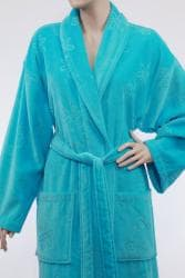 Unisex Turquoise Blue Authentic Hotel Spa Floral Turkish Cotton Bath Robe - Thumbnail 1