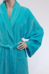 Unisex Turquoise Blue Authentic Hotel Spa Floral Turkish Cotton Bath Robe - Thumbnail 2