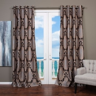 Lambrequin Arabella 84 in. L Flocked Curtain Panel