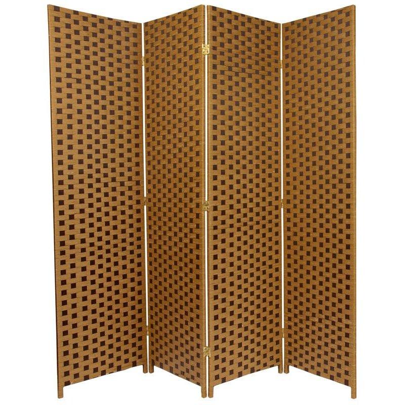 Handmade Brown Fiber Weave 6-foot Room Divider (China) (4P)