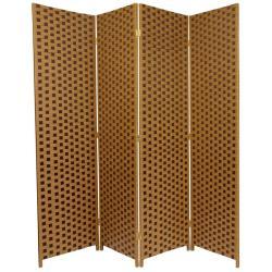Handmade Brown Fiber Weave 6-foot Room Divider (China)