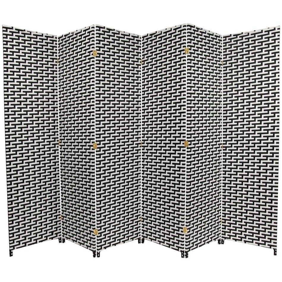Black/White Fiber Weave 6-foot Room Divider (China)