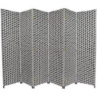 Black/White Fiber Weave 6-foot Room Divider (China) - 70.75 x 106.5