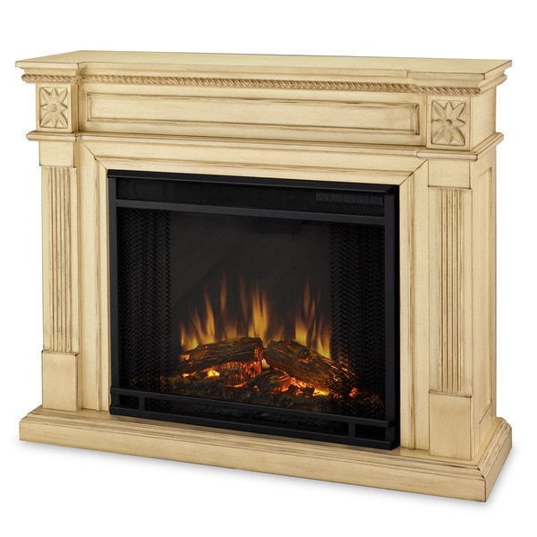 Real Flame Elise Antique White Electric Fireplace Free