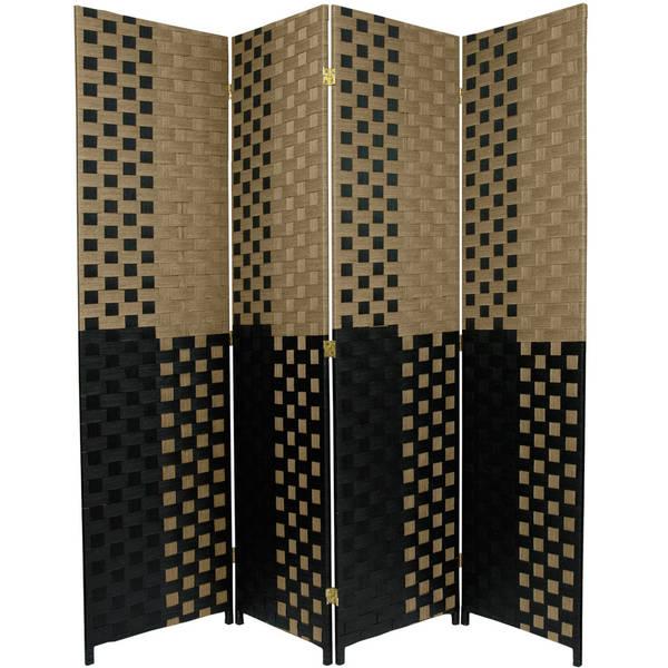 Handmade 6' Olive and Black Fiber Weave Room Divider